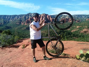 David Biermann with his mountain bike in Sedona - about Biermann Construction